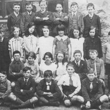 BRYNFORD SCHOOL ABOUT 1924 - Jenny Edwards, who features in Memories of Brynford, is seated 2nd left on the 2nd row from the front.