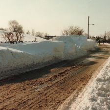 Road near the Llyn y Mawn after a blizzard - probably in the early 1980s