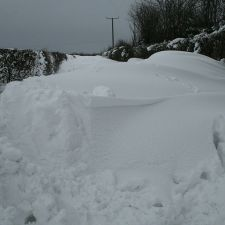 Calcoed Lane blocked by deep snow drifts on Saturday 23rd March 2013